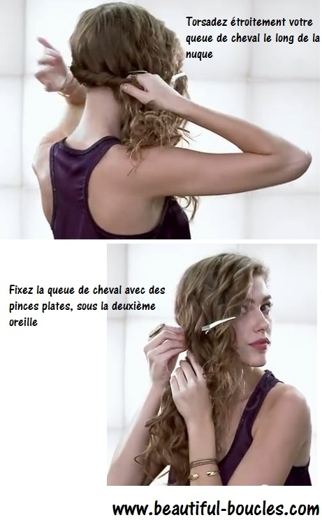 Attacher ses cheveux bouclés : une queue de cheval basse sur le côté épaule, one shoulder : tutoriel www.beautiful-boucles.com