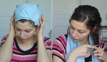 Après la pose du masque :  essorage de mes cheveux avec ma serviette en microfibre, et démêlage/coiffage avec mes pinces pour limiter le volume lors du séchage.