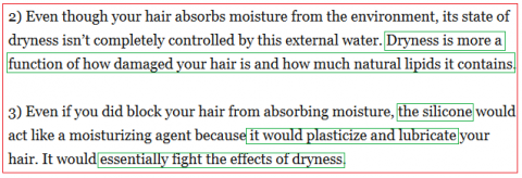(...) La sécheresse du cheveu est davantage une question du degré d'endommagement  (i.e l'état sa cuticule, ndlr) et du nombre de lipides naturels qu'il comporte. Source: The Beauty Brains