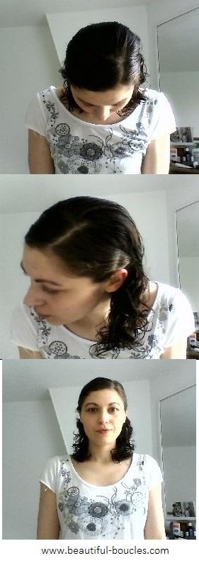 Fixation finale des mèches des deux côtés de la raie après séparation en trois de la chevelure (capture de la vidéo de tutoriel)