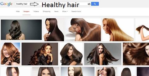 """Recherche sur Google images des mots clés """"Healthy hair"""" (cheveux en bonne santé en anglais)"""