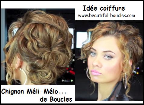 Idée pour coiffer ses cheveux bouclés, chic et facile : Chignon Méli Mélo de boucles ! - Cheveux ...