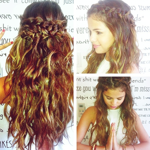 couronne tressee fontale selena gomez idee coiffure cheveux boucles2