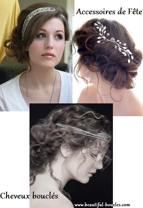 accessoires attaches coiffures de fete cheveux bouclés