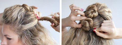 coiffure attache cheveux boucles faux chignon banane avec macarons