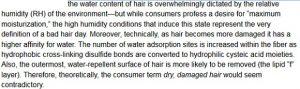 """Variation de l'eau contenue dans le cheveu en fonction de l'humidité de l'environnement (extrait de l'article """"Measuring the Water Content of Hair"""" du Dr Trefor A Evans): cliquez pour voir en plus grand."""
