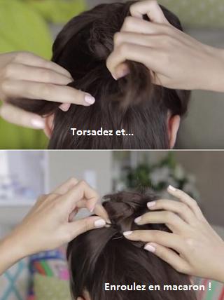 tutoriel faux chignon banane en macarons - coiffure cheveux boucles